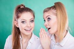 Dos secretos de las partes de los adolescentes, chisme Fotos de archivo