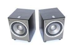 Dos secundario-altavoces para bajas audiofrecuencias Foto de archivo libre de regalías
