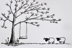 Dos sheeps y árboles Imagen de archivo libre de regalías