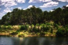 Dos sillas amarillas Texas Hill Country del lago Fotografía de archivo