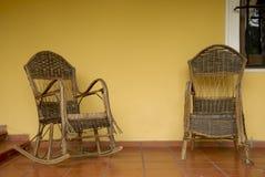 Dos sillas de mimbre Imagen de archivo libre de regalías