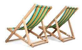 Dos sillas de playa aisladas Fotos de archivo libres de regalías