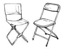 Dos sillas plegables en un aislamiento blanco del fondo Illus del vector Fotografía de archivo libre de regalías