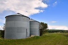 Dos silos del compartimiento del grano fotografía de archivo libre de regalías