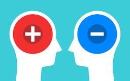 Dos siluetas de las cabezas con los signos de menos más y Pensamiento, contrastes, polaridad y concepto positivos y negativos de  ilustración del vector