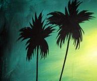Dos siluetas oscuras de palmeras en la puesta del sol, el concepto de palmeras del coco Pintado en estilo del vintage imagen de archivo libre de regalías