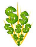 Dos sinais dólares da explosão do dinheiro Imagens de Stock Royalty Free