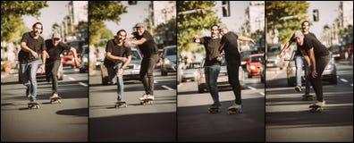 Dos skateres de los amigos que montan secuencia del patín Patín del pase gratis Foto de archivo libre de regalías
