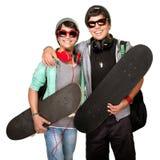 Dos skateres felices Fotografía de archivo