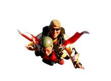 Dos skydivers en tándem en la acción Imagen de archivo libre de regalías
