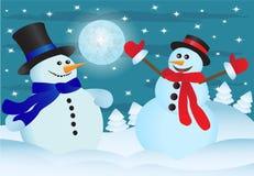 Dos snowmens ilustración del vector