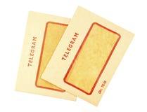 Dos sobres viejos del telegrama fotos de archivo libres de regalías