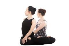 Dos socios femeninos de la yogui que se sientan en la yoga Lotus Pose Fotos de archivo libres de regalías