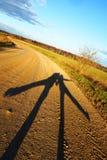 Dos sombras en el fondo del camino del otoño Fotos de archivo