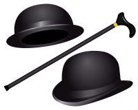 Dos sombreros y bastones Imágenes de archivo libres de regalías