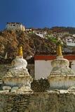 Dos Stupa en Karsha Gompa fotos de archivo