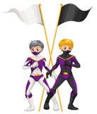 Dos super héroes con las banderas vacías Imagen de archivo libre de regalías