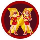 Dos super héroes femeninos valientes Imagen de archivo
