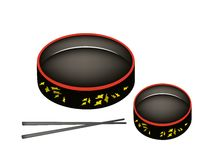 Dos Sushioke o disco redondo de la porción del sushi Fotografía de archivo