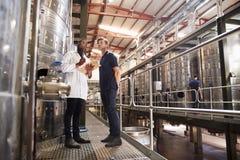 Dos técnicos de sexo masculino que trabajan en una fábrica del vino, ángulo bajo imagenes de archivo