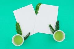 Dos tarjetas blancas en blanco y té verde Imagen de archivo