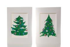 Dos tarjetas de Navidad Decoraciones hechas a mano del Año Nuevo Imagenes de archivo