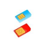 Dos tarjetas de SIM Imágenes de archivo libres de regalías