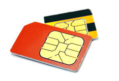 Dos tarjetas de SIM Imagen de archivo libre de regalías