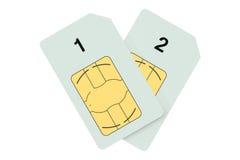 Dos tarjetas de SIM Fotografía de archivo libre de regalías