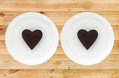 Dos tarjetas del día de San Valentín del chocolate Imágenes de archivo libres de regalías