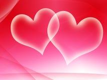 Dos tarjetas del día de San Valentín translúcidas Fotos de archivo libres de regalías