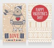 Dos tarjetas lindas para el día del ` s de la tarjeta del día de San Valentín con el oso sonriente Fotos de archivo libres de regalías