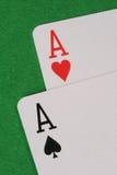 Dos tarjetas que juegan del as Foto de archivo libre de regalías