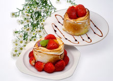 Dos tartas de la fresa Fotografía de archivo