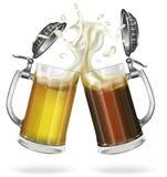 Dos tazas con el casquillo con cerveza inglesa, luz o cerveza oscura Taza con la cerveza Vidrio Vector Imágenes de archivo libres de regalías