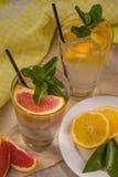 Dos tazas de agua de cristal con la naranja, el limón, la menta y el hielo rojos Franco Foto de archivo libre de regalías