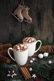 Dos tazas de cacao caliente o de chocolate caliente con las ramas de árbol de navidad, los patines pasados de moda, los palillos  Fotografía de archivo libre de regalías