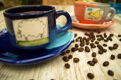 Dos tazas de café coloridas 3 Imagen de archivo