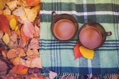 Dos tazas de café en una tela escocesa Imagen de archivo