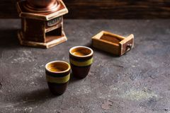 Dos tazas de café express del café Foto de archivo libre de regalías