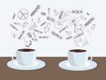 Dos tazas de café o de té en la tabla con la nube de las palabras del negocio arriba Fotografía de archivo libre de regalías