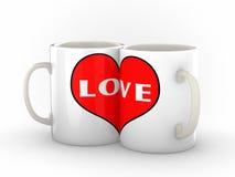 Dos tazas de café que muestran amor Fotos de archivo