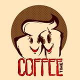 Dos tazas de café sonrientes ilustración del vector