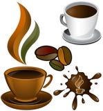 Dos tazas de café y de mancha blanca /negra Imagenes de archivo