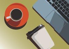 Dos tazas de café y de un poco de ordenador portátil de la parte, opinión superior sobre la tabla, línea plana vector y ejemplo fotografía de archivo