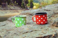 Dos tazas de coffe Imagen de archivo libre de regalías