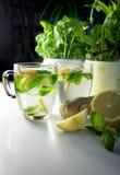 Dos tazas de té con la hierbabuena, el jengibre y el limón frescos Imágenes de archivo libres de regalías