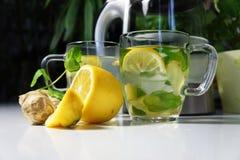 Dos tazas de té con la hierbabuena, el jengibre y el limón frescos Imagen de archivo libre de regalías