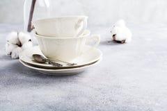 Dos tazas de té retras de la porcelana foto de archivo libre de regalías