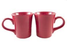 Dos tazas de té rojas Foto de archivo libre de regalías